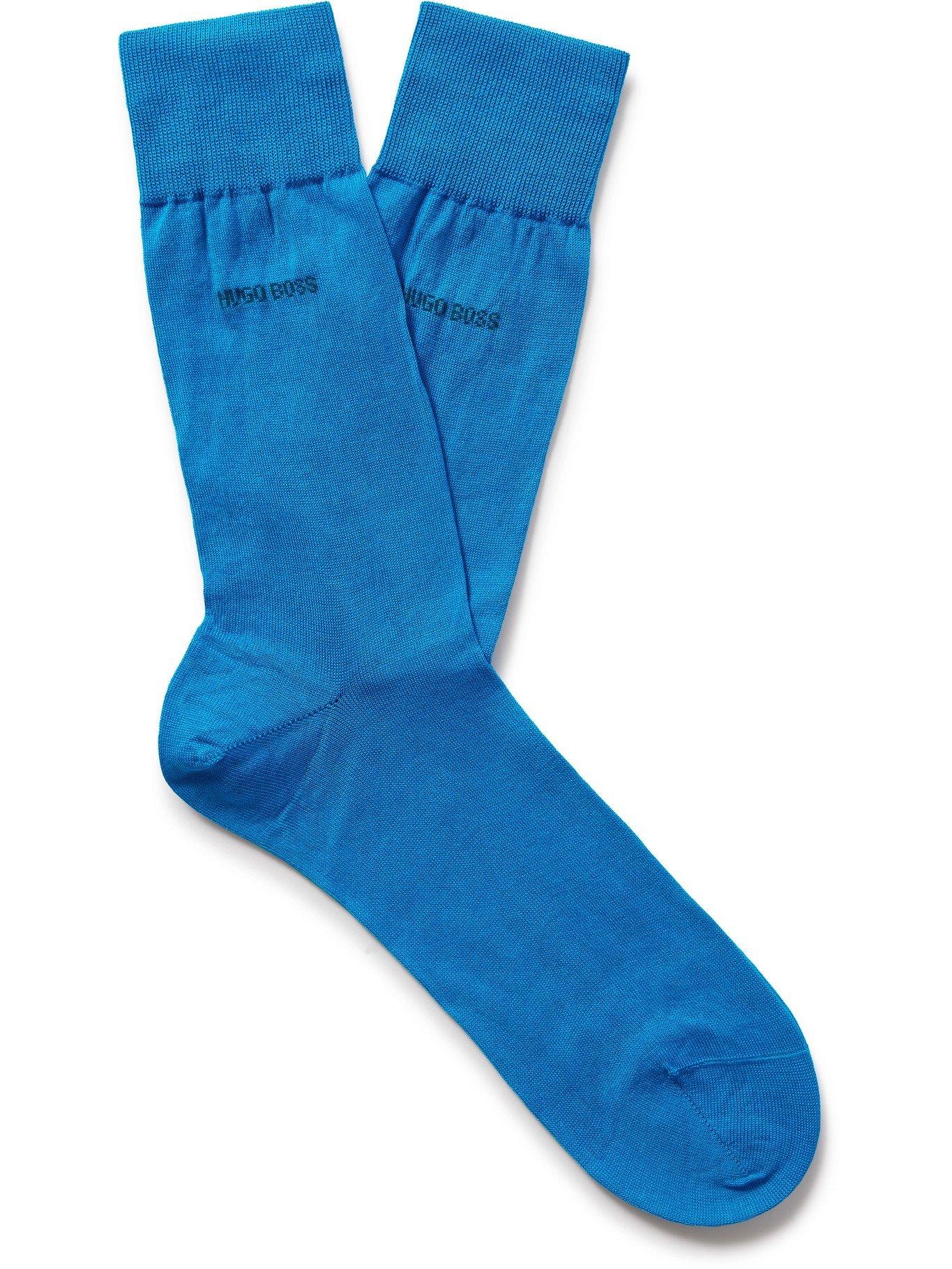 Photo: HUGO BOSS - Mercerised Cotton Socks - Blue - EU 41-42