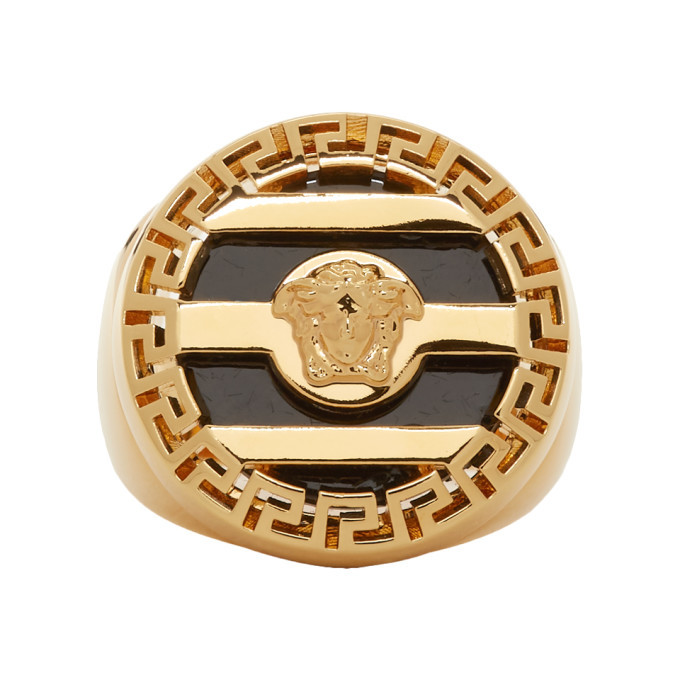 Photo: Versace Gold and Black Medusa Ring