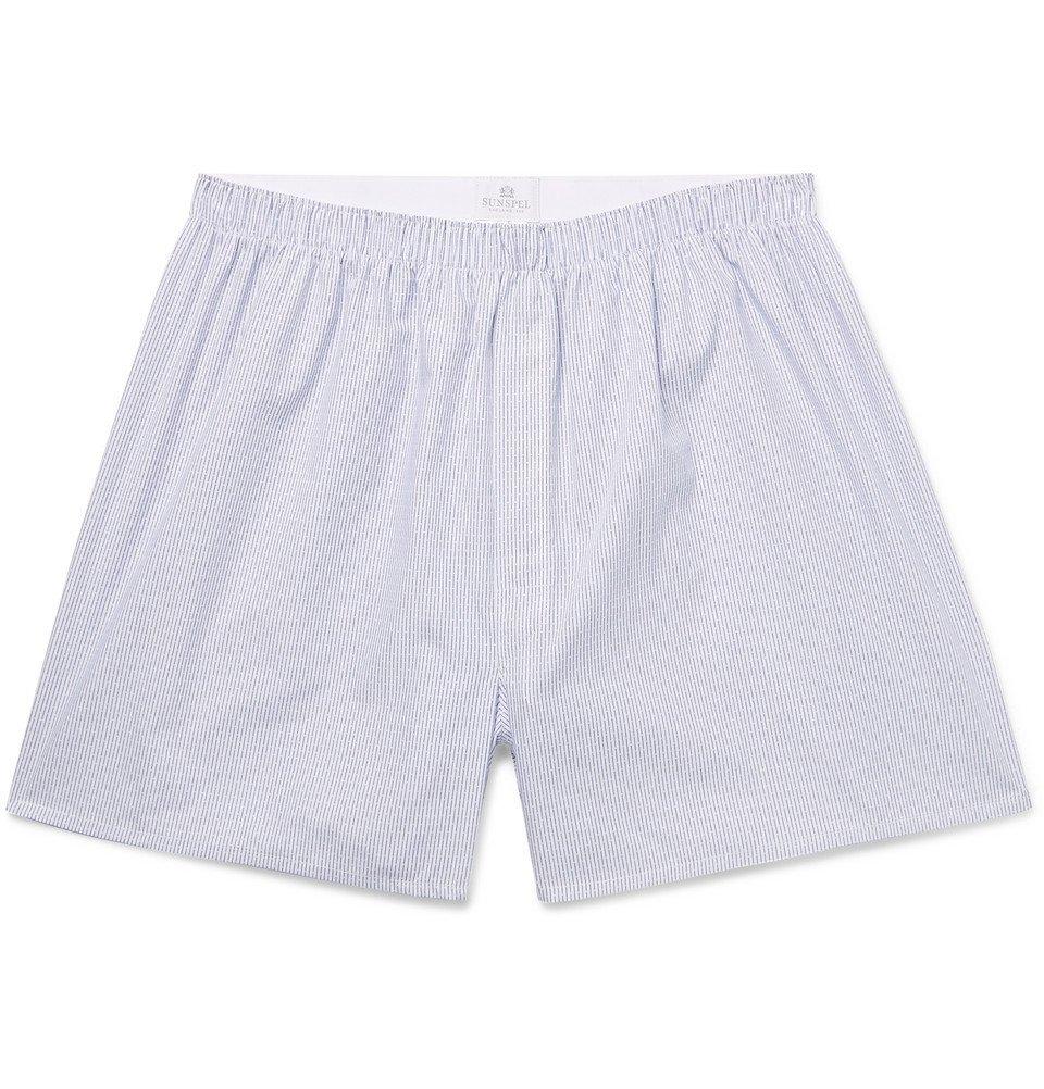 Photo: Sunspel - Striped Cotton Boxer Shorts - Men - Blue