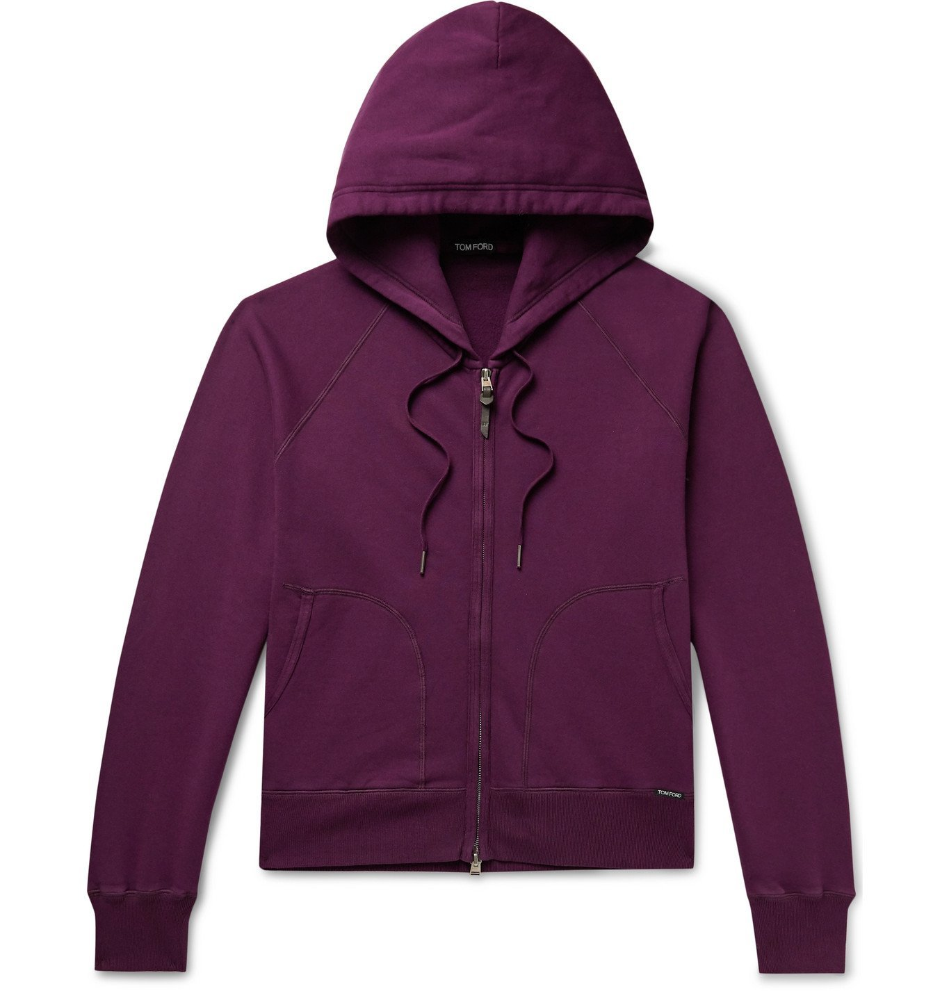 Photo: TOM FORD - Fleece-Back Cotton-Jersey Zip-Up Hoodie - Purple