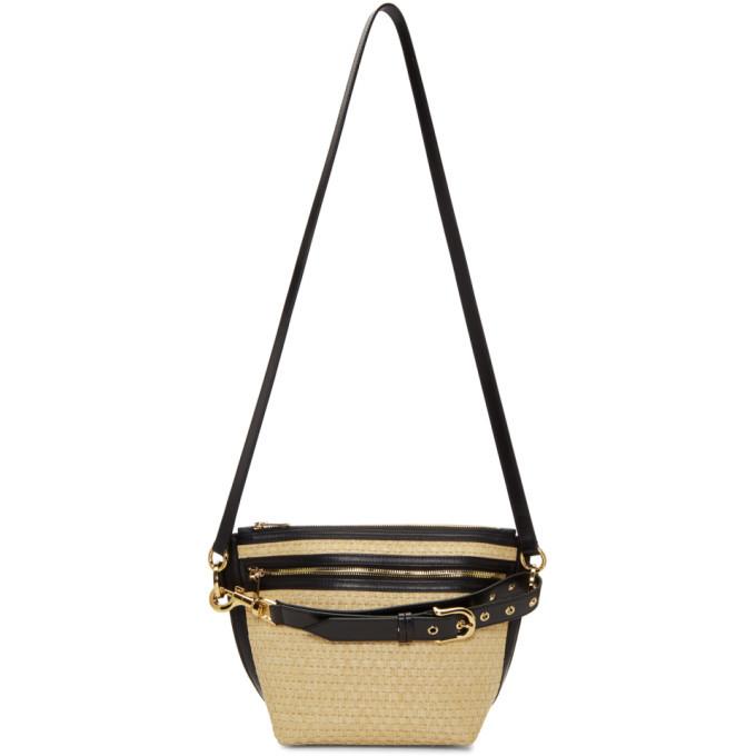 Sacai Beige and Black Raffia Trapezoid Bag