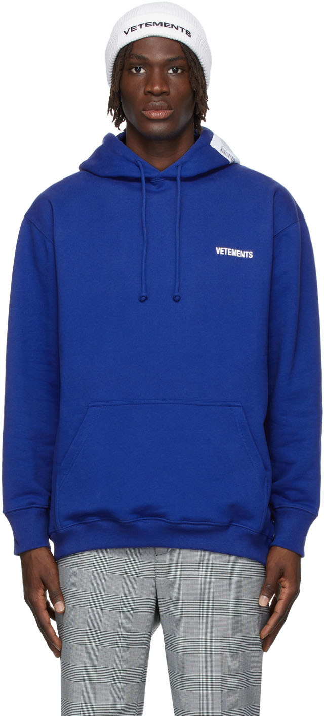 Photo: VETEMENTS SSENSE Exclusive Blue Logo Hoodie