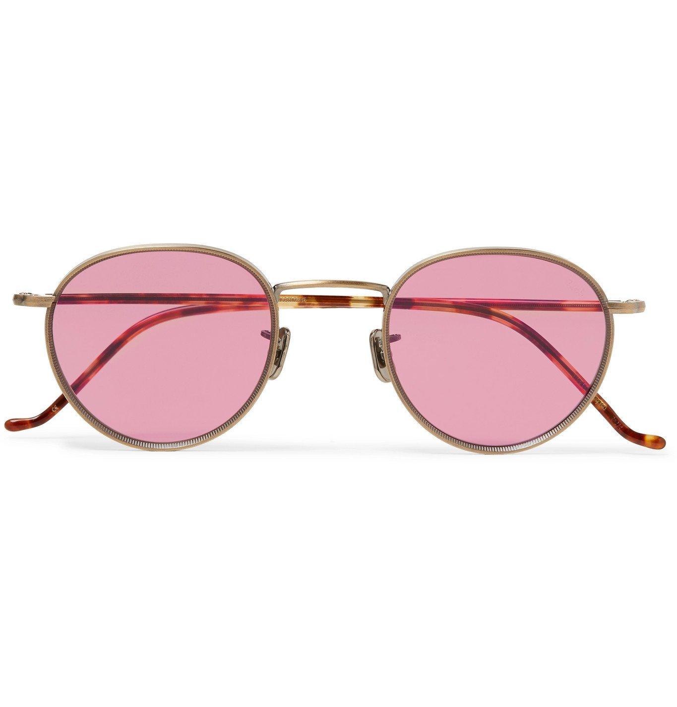 Photo: Eyevan 7285 - Round-Frame Gold-Tone Titanium and Tortoiseshell Acetate Sunglasses - Gold