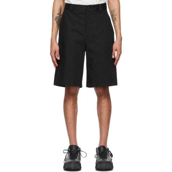 Photo: Jil Sander Black Herringbone Workwear Shorts