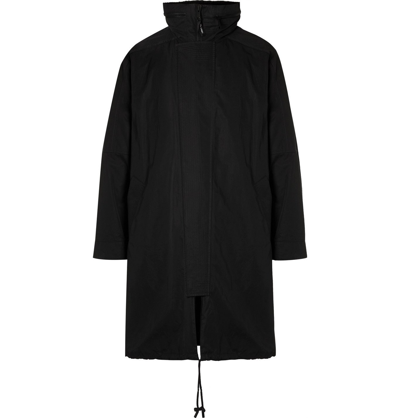 Photo: Yves Salomon - Hooded Cotton-Blend Canvas Parka with Detachable Shearling Liner - Black