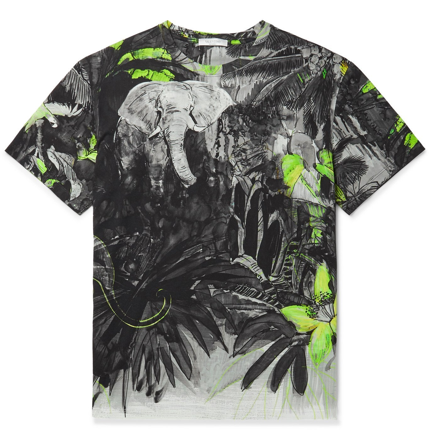 Photo: Valentino - Printed Cotton-Jersey T-Shirt - Black
