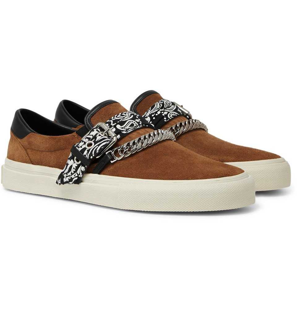 Photo: AMIRI - Embellished Leather-Trimmed Suede Slip-On Sneakers - Tan