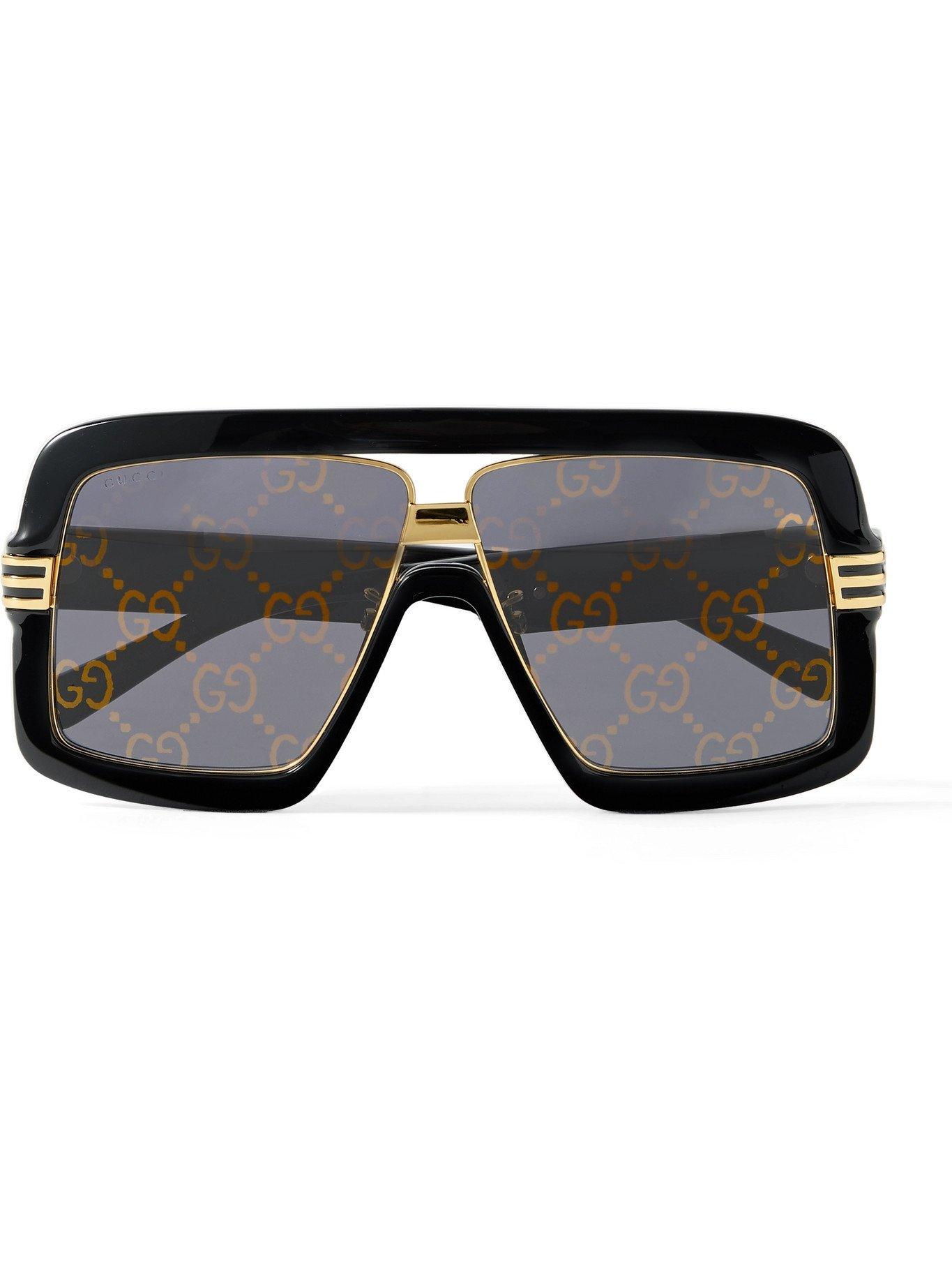 Photo: GUCCI - Oversized Square-Frame Tortoiseshell Acetate and Gold-Tone Sunglasses - Black