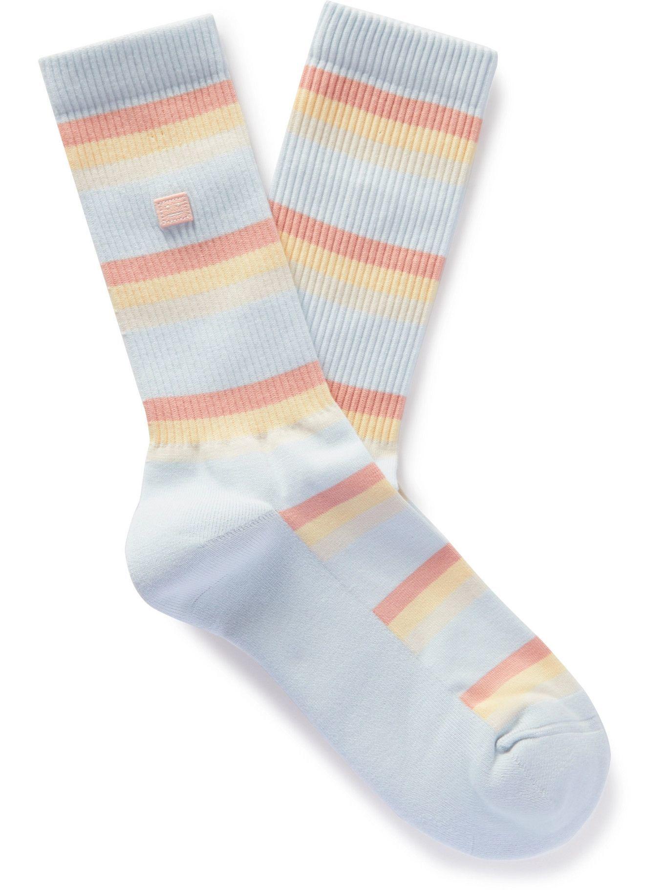Photo: Acne Studios - Striped Ribbed Stretch Cotton-Blend Socks - White