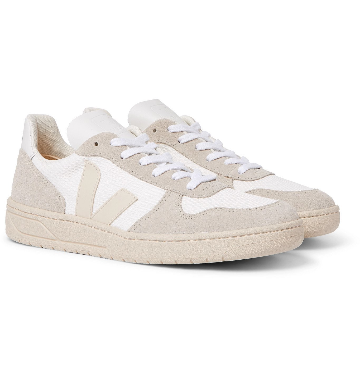 Photo: Veja - V-10 Leather-Trimmed Mesh and Suede Sneakers - White