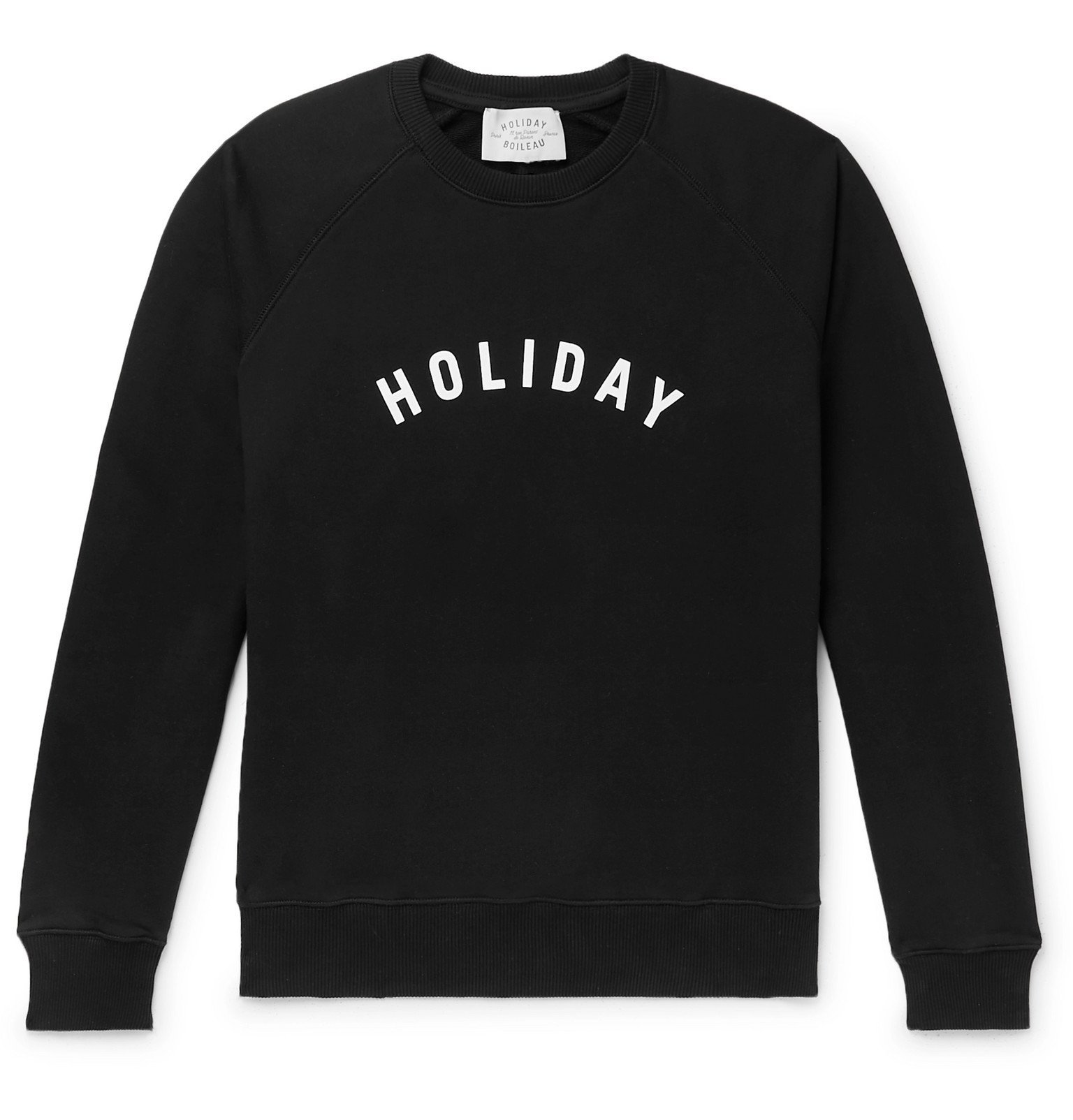 Photo: Holiday Boileau - Logo-Print Loopback Organic Cotton-Jersey Sweatshirt - Black