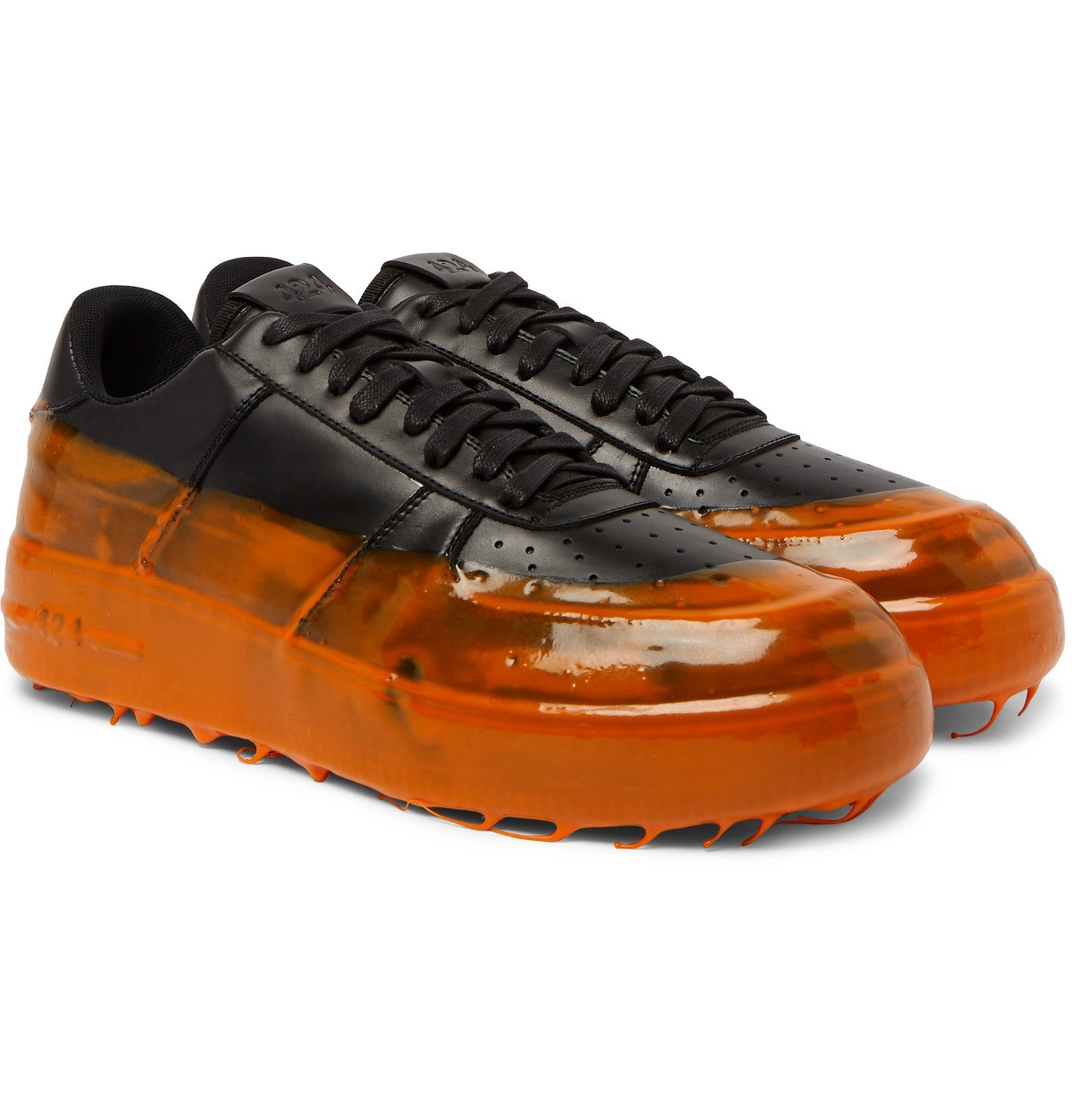 Photo: 424 - 42Force Rubber-Trimmed Leather Sneakers - Black