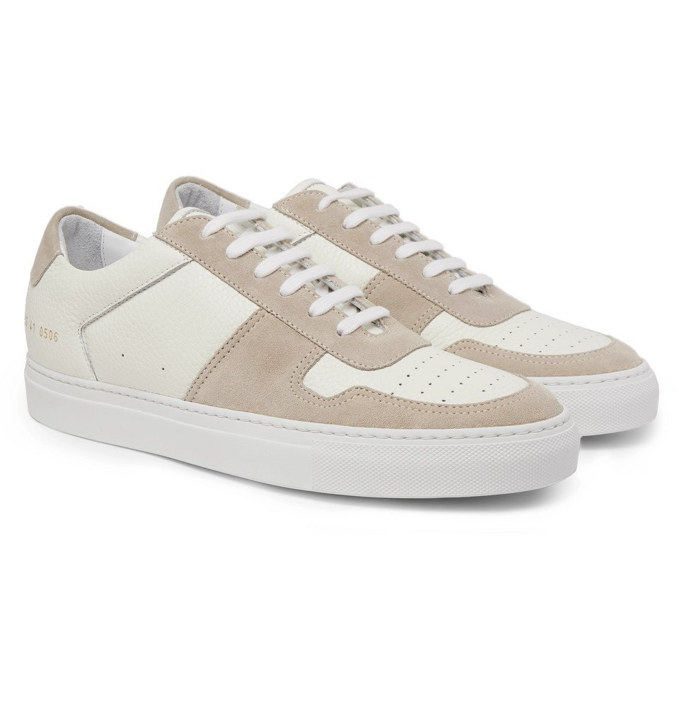 Common Projects - BBall Full-Grain Leather and Suede Sneakers - White