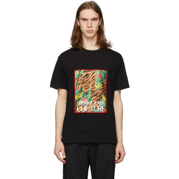 Versace Jeans Couture Black Tiger and Palm T-Shirt