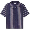 Dunhill - Camp-Collar Striped Lyocell and Cotton-Blend Shirt - Blue