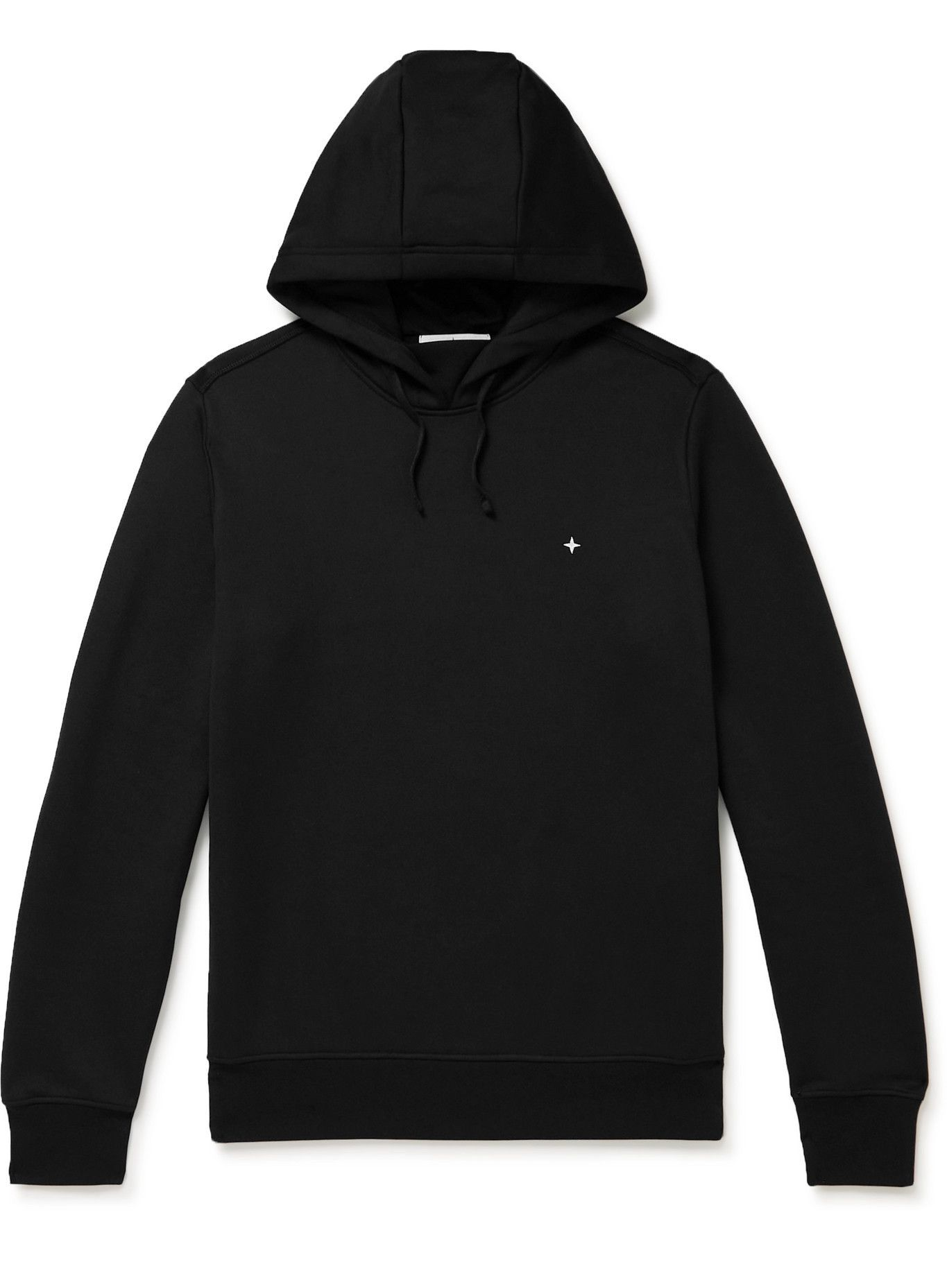 Photo: Stone Island - Logo-Embroidered Cotton-Blend Jersey Hoodie - Black
