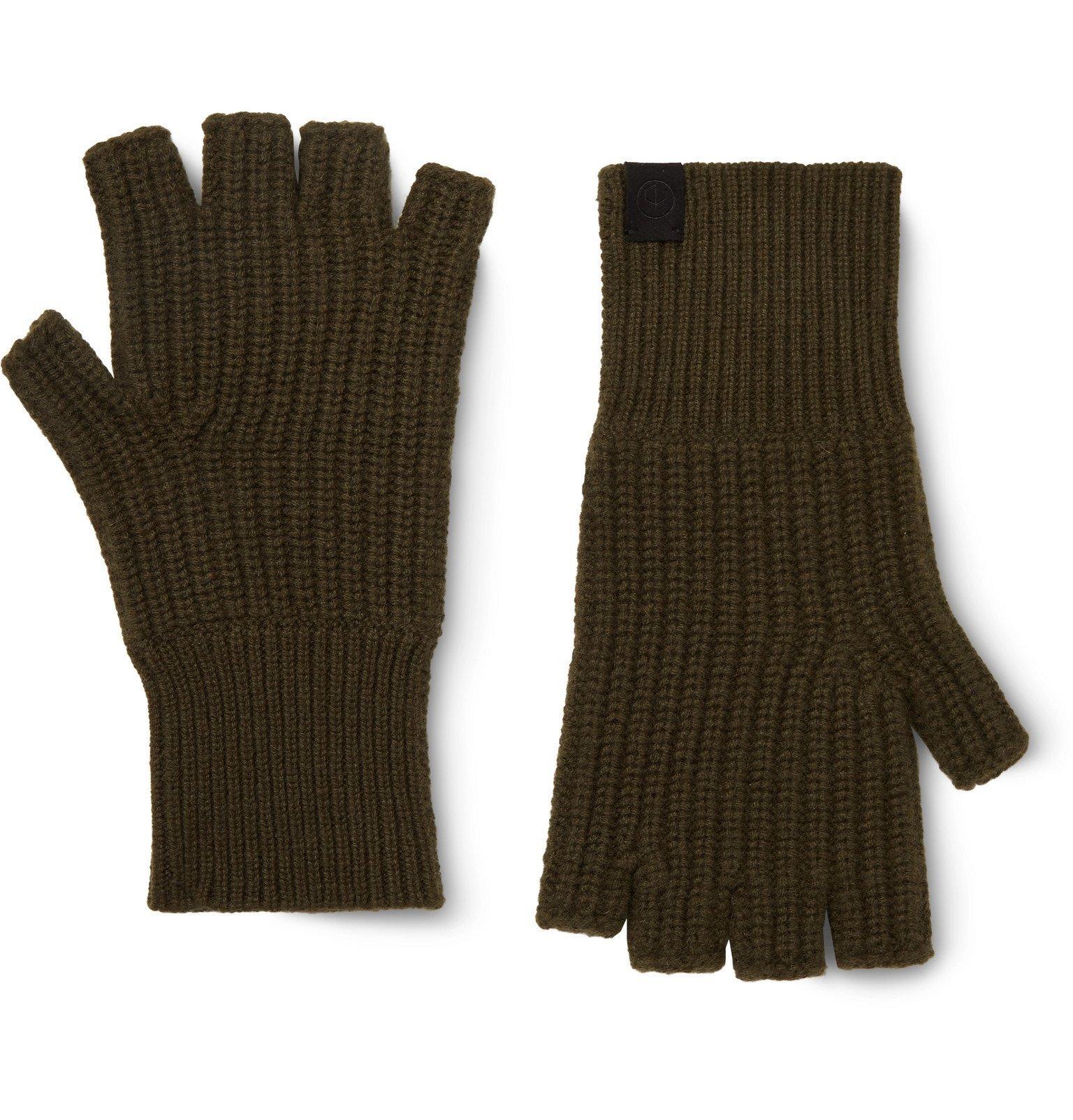 Photo: rag & bone - Ace Ribbed Cashmere Fingerless Gloves - Green