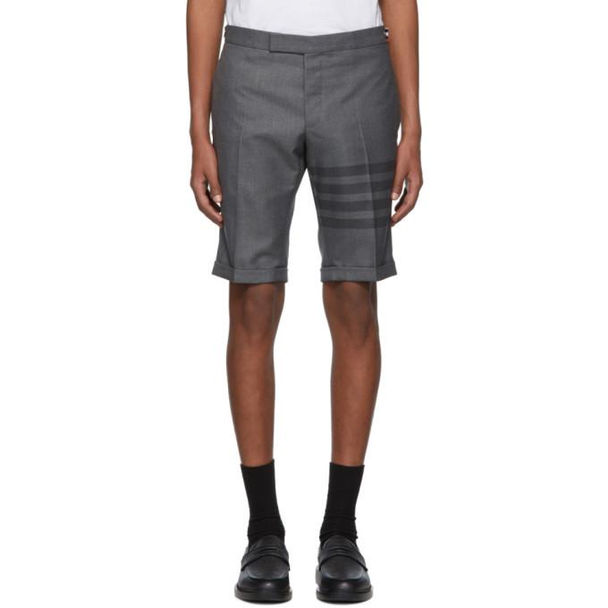 Photo: Thom Browne Grey 4-Bar Side-Tab Shorts