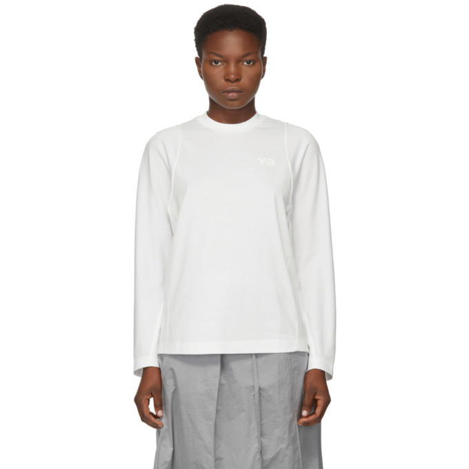 Photo: Y-3 White Classic Tailored Long Sleeve T-Shirt