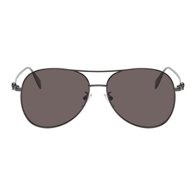 Photo: Alexander McQueen Black Aviator Sunglasses
