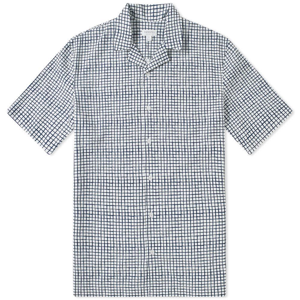 Sunspel Short Sleeve Shirt Shibori Grid White