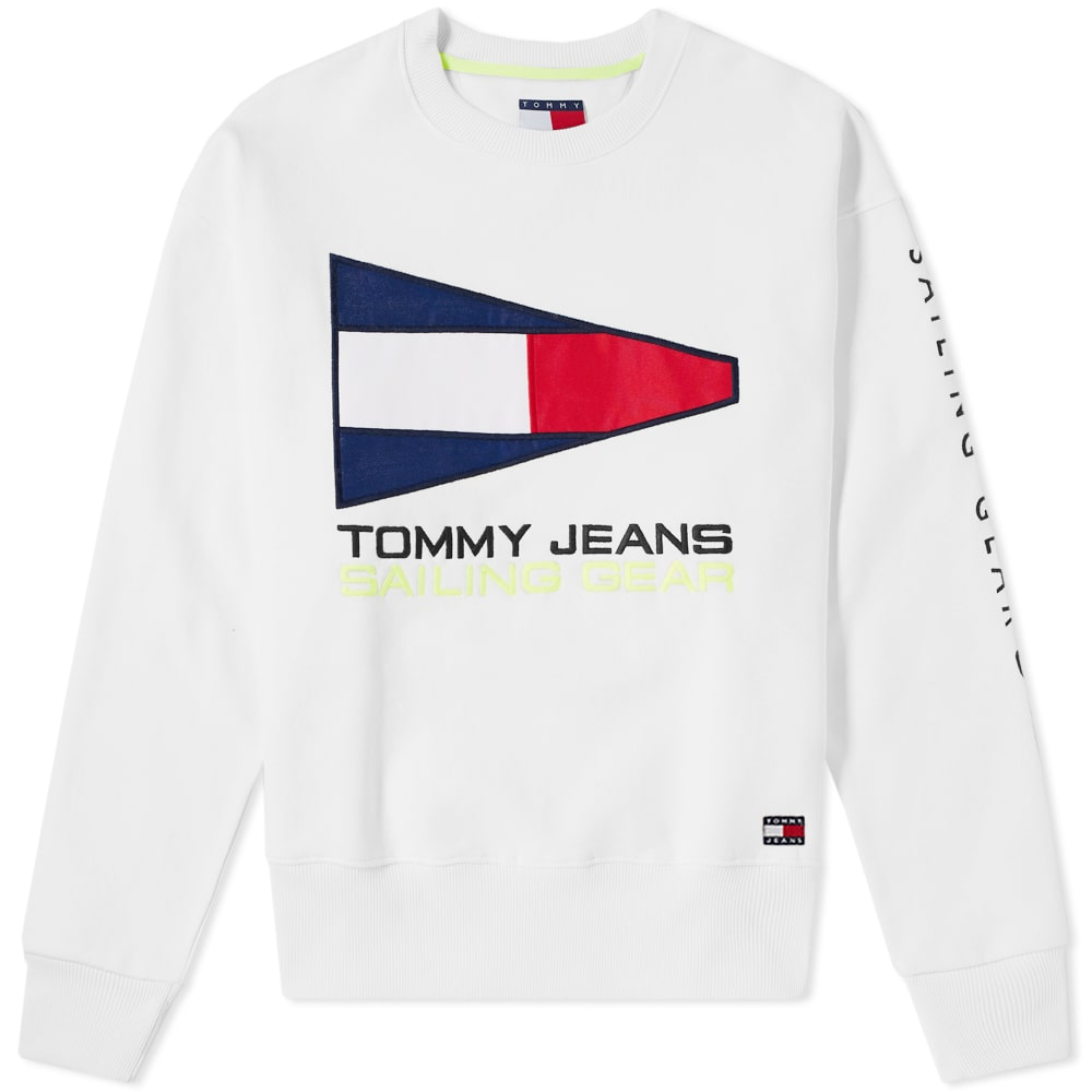 Photo: Tommy Jeans 5.0 90s Sailing Logo Crew Sweat White