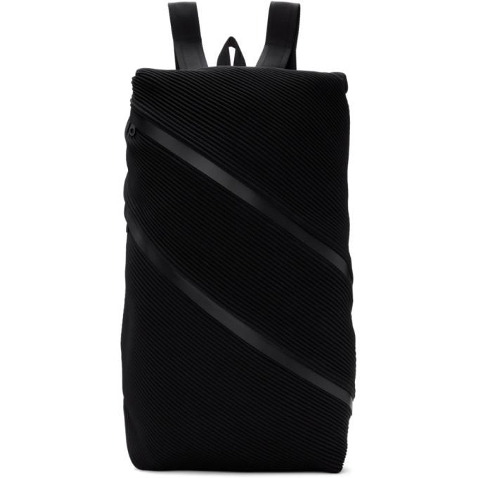 Miyake color favor con mochila negro Issey doble Pliegues por cremallera P8OfnxPtH