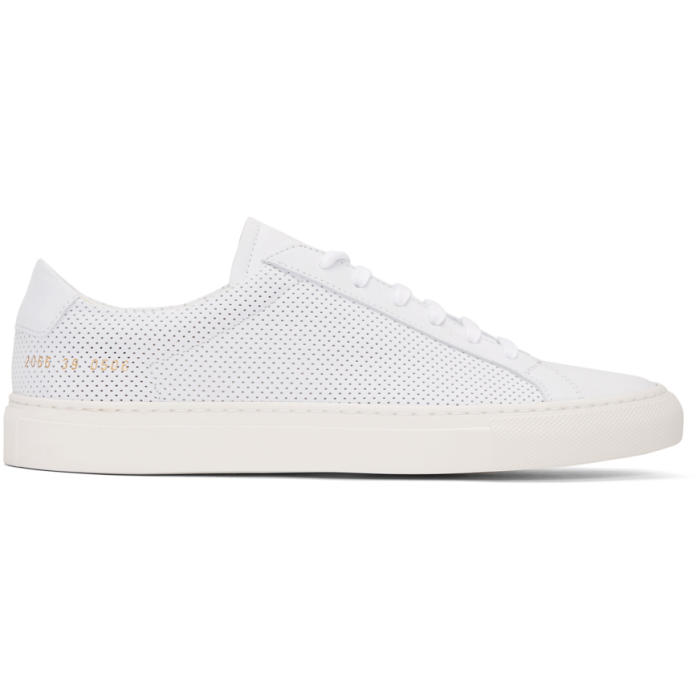Common Projects White Perforated Suede Achilles Retro Low Sneakers