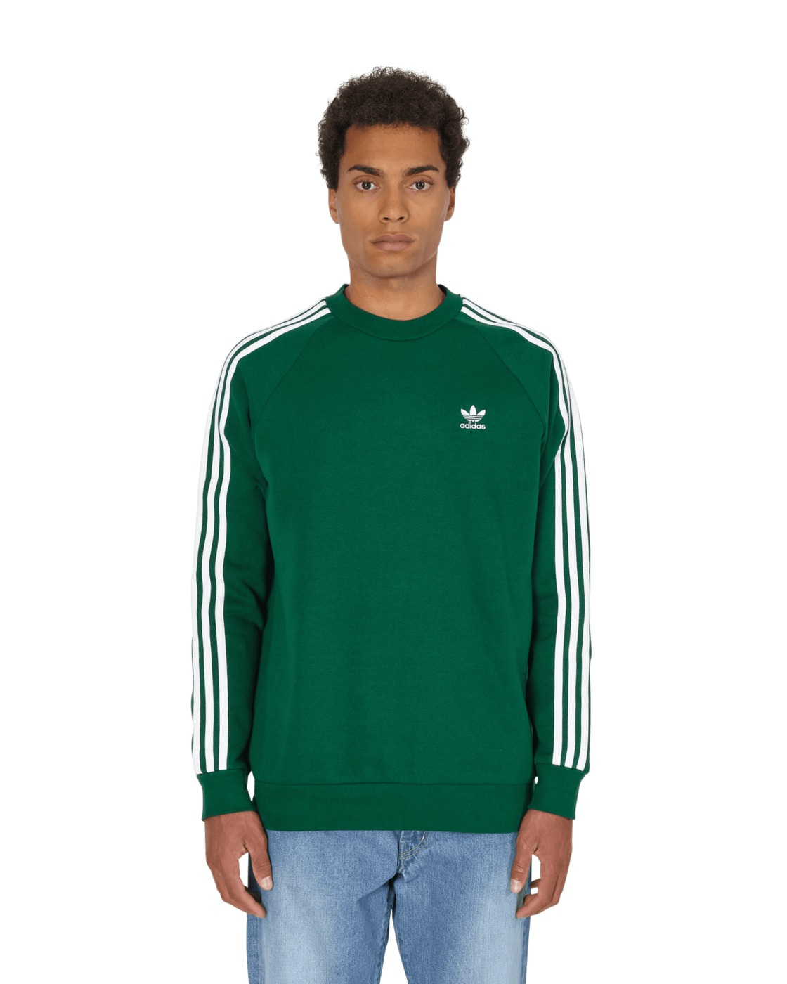 Photo: Adidas Originals 3 Stripes Crewneck Sweatshirt Dark Green