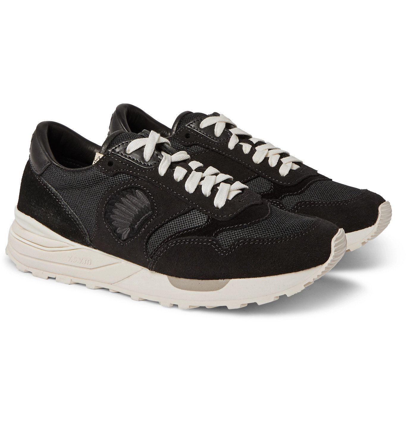 Photo: visvim - Roland Leather-Trimmed Suede and Mesh Sneakers - Black