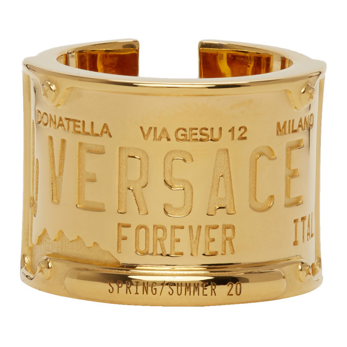 Photo: Versace Gold License Plate Ring