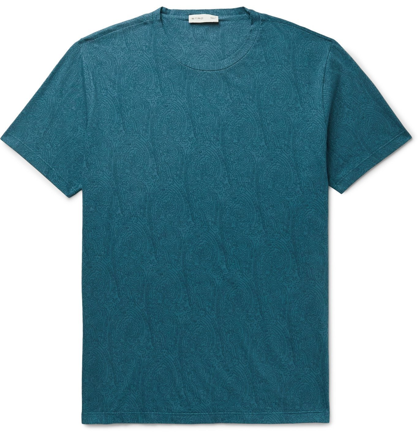 Photo: Etro - Paisley-Print Cotton-Jersey T-Shirt - Blue
