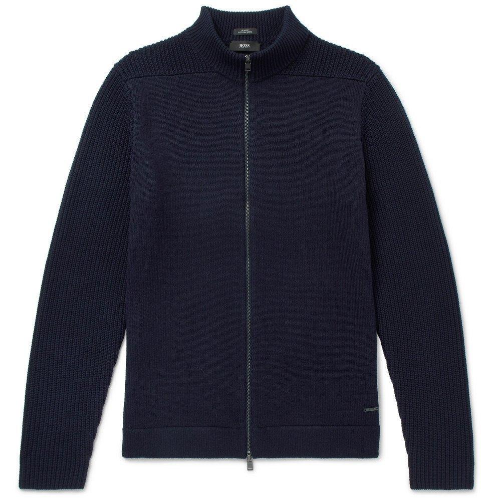 Photo: Hugo Boss - Slim-Fit Cotton and Virgin Wool-Blend Zip-Up Cardigan - Navy