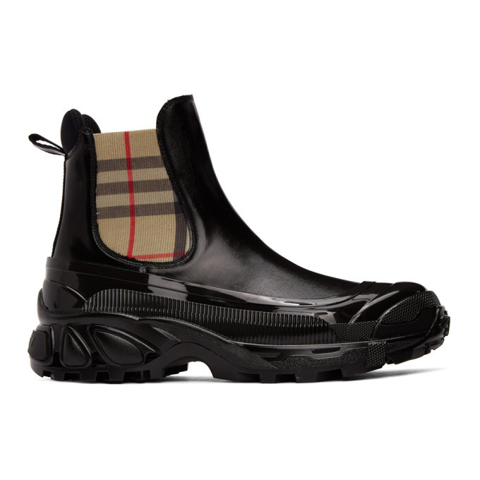 Photo: Burberry Black Coated Canvas Chelsea Boots