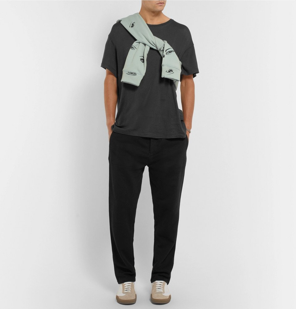 The Elder Statesman - Cotton and Cashmere-Blend T-Shirt - Charcoal