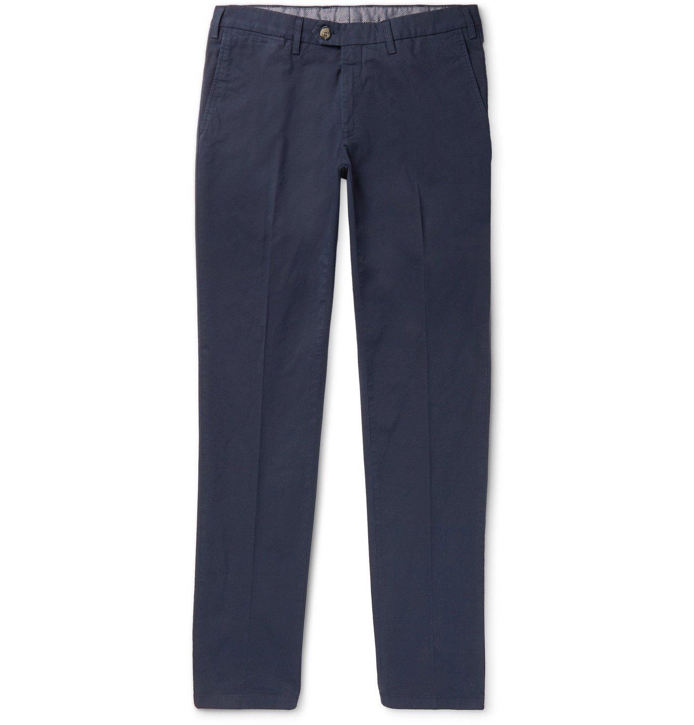 Photo: Canali - Slim-Fit Stretch-Cotton Twill Chinos - Blue
