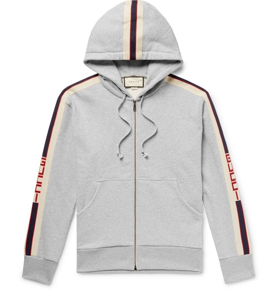 Photo: Gucci - Logo Webbing-Trimmed Loopback Cotton-Jersey Zip-Up Hoodie - Gray
