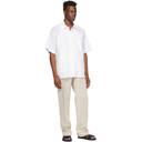 Botter White Cotton Grandpa Short Sleeve Shirt