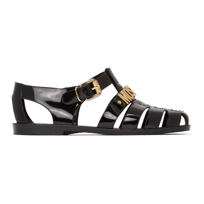 Photo: Moschino Black Logo Jelly Sandals