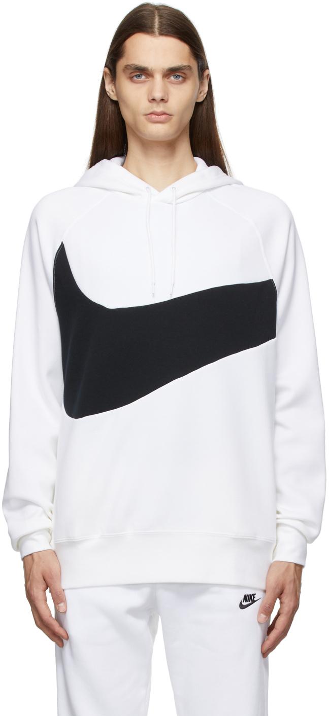 Photo: Nike White & Black Sportswear Swoosh Tech Hoodie
