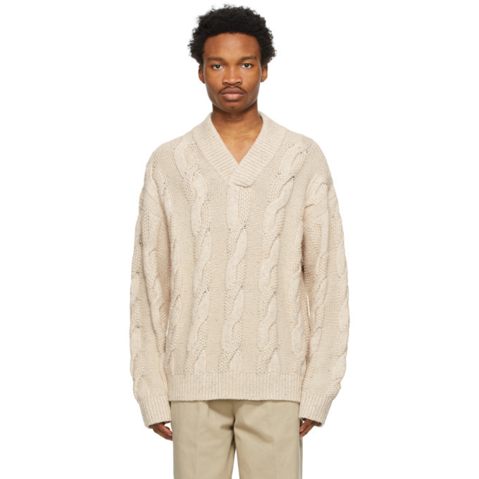 Photo: Acne Studios Beige Cable Knit V-Neck Sweater