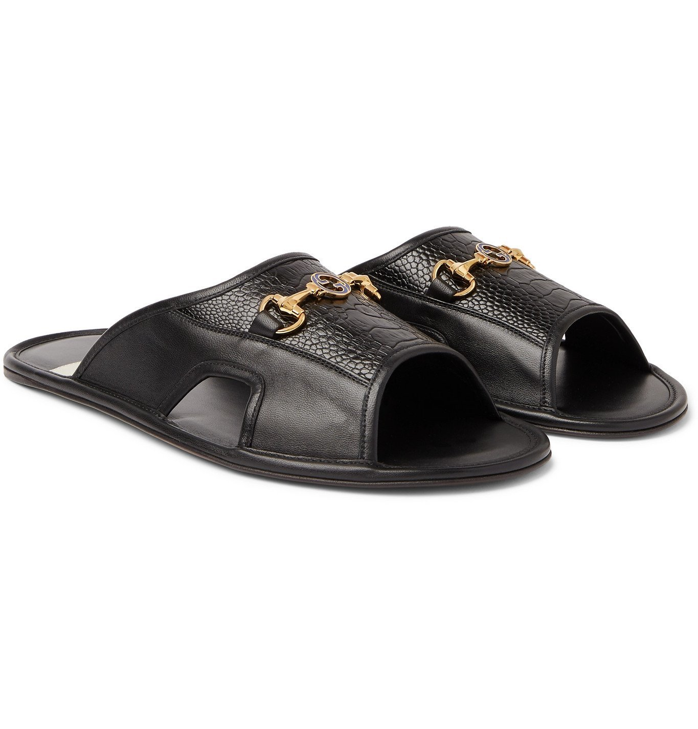Photo: Gucci - Horsebit-Detailed Textured-Leather Slides - Black