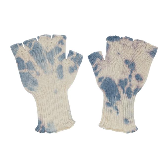 The Elder Statesman Off-White and Blue Fingerless Gloves