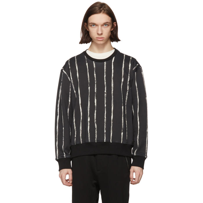 3.1 Phillip Lim Black and White Painted Stripes Sweatshirt