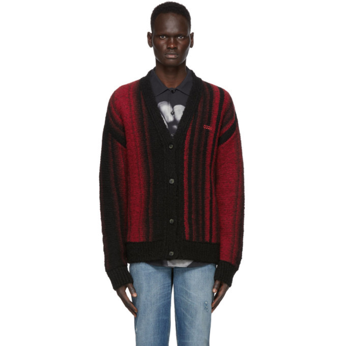 Photo: 032c Black and Red Knit Logo Cardigan