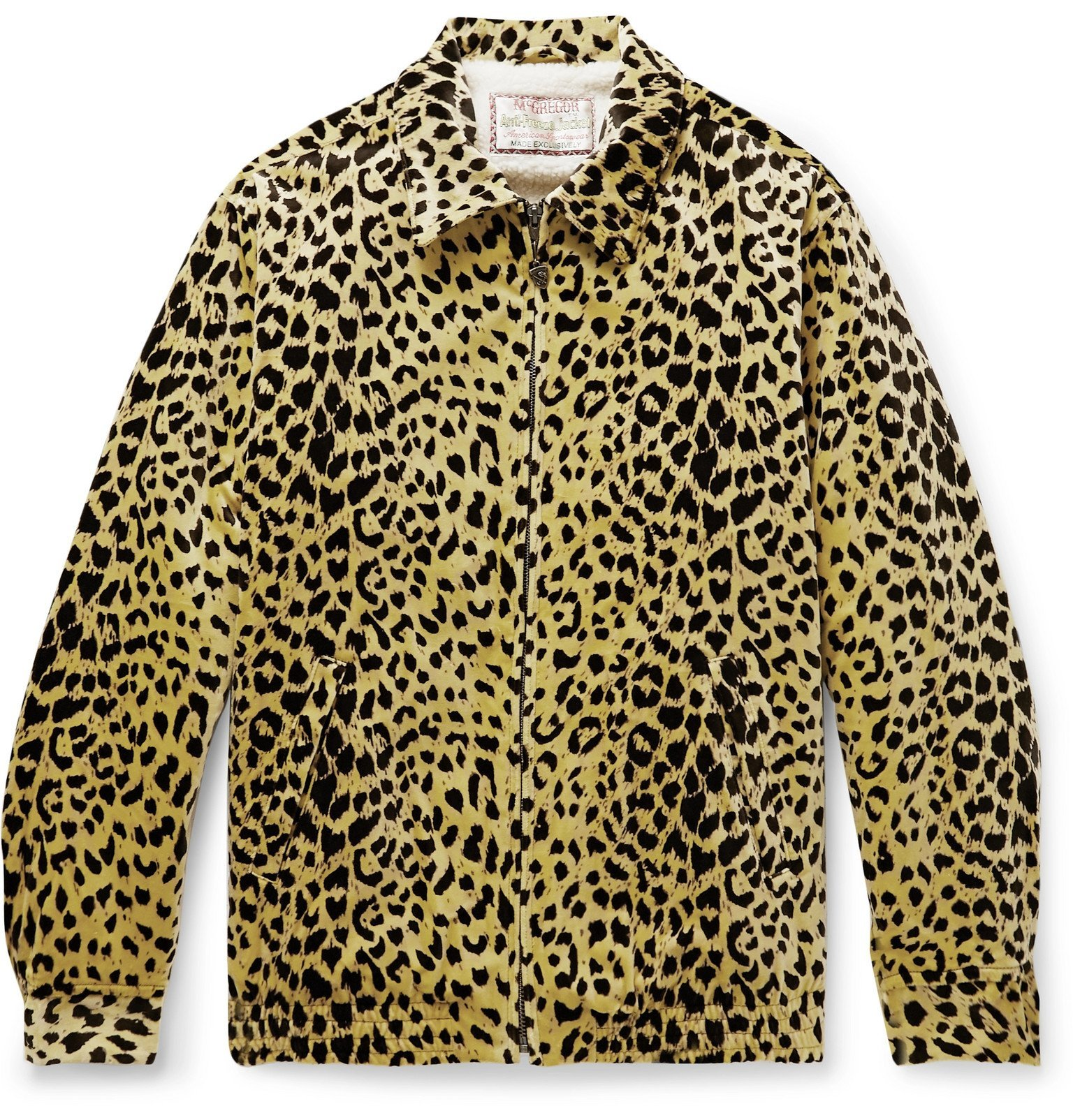 Photo: Wacko Maria - McGregor Anti-Freeze Faux Shearling-Lined Leopard-Print Cotton-Velvet Jacket - Yellow