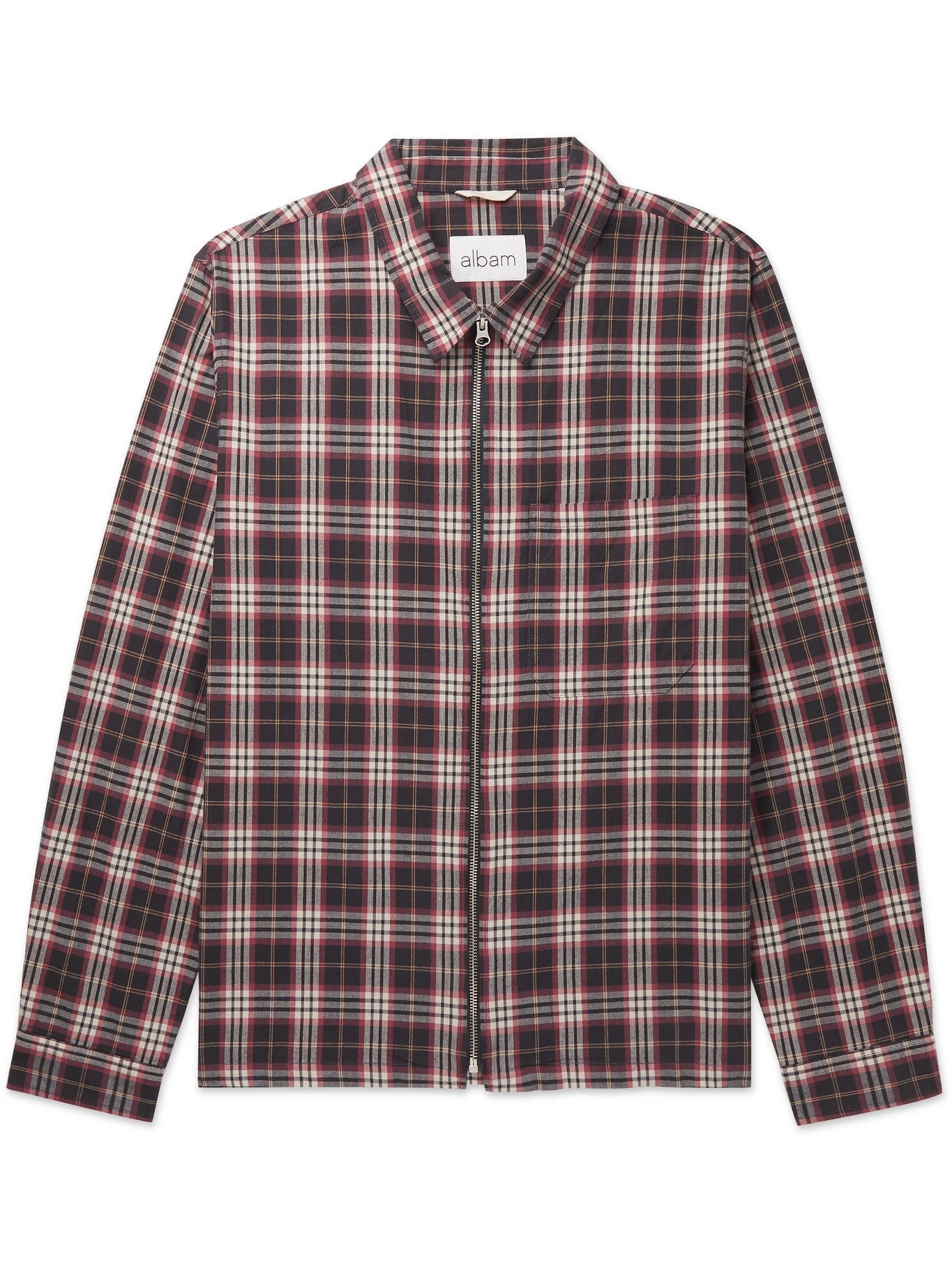 Photo: Albam - Blake Checked Brushed Cotton-Flannel Jacket - Red