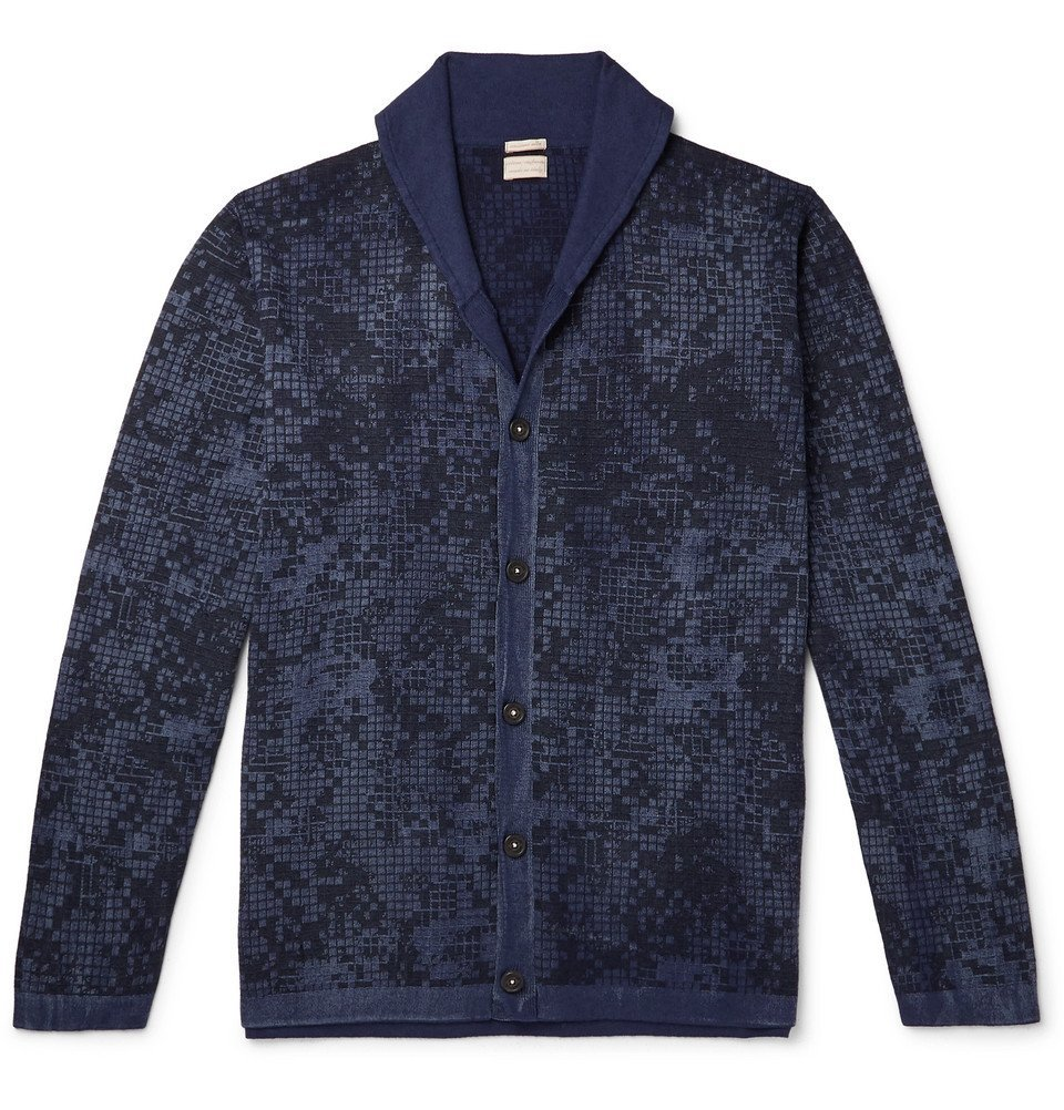 Photo: Massimo Alba - Shawl-Collar Printed Cotton and Cashmere-Blend Cardigan - Blue