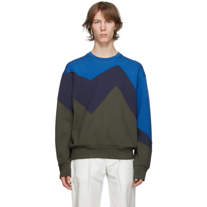 Photo: Neil Barrett Blue and Khaki Modernist Sweatshirt