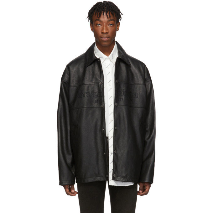 Photo: Balenciaga Black Grainy Leather Snapped Jacket